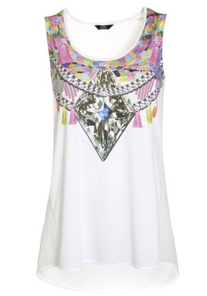 Jewel Print Vest Top - £10