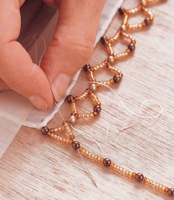 Not jewelry - but beads.  How to add a bead edge to a scarf.  The sharepoint: Devore scarf...steps for edging. Free DIY, tutorial