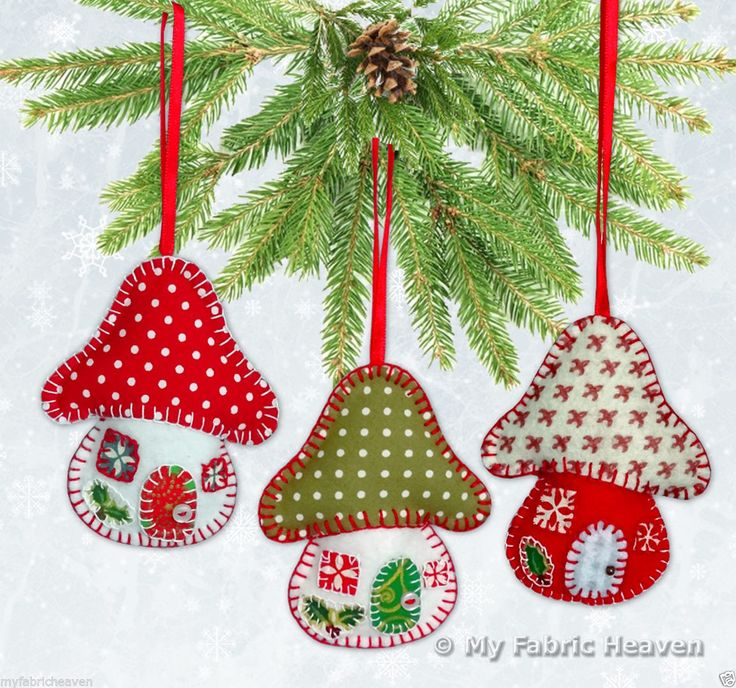 Felt Toadstool House Christmas Tree Decoration Pattern http://ebay.eu/1L7vf5q