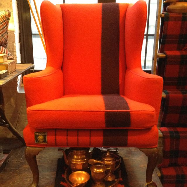 Wingback chair reupholstered in Hudson Bay Scarlet wool blanket-I have wanted to do this for a long time, just cant bear to cut up the blanket!