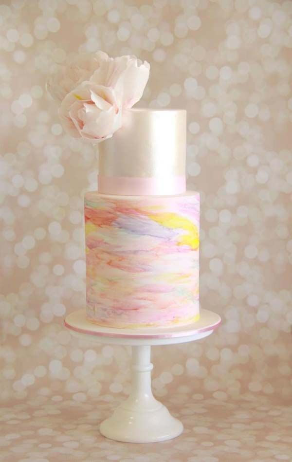 Classic-Modern Cake for the Romantic Wedding | 10 Watercolour Wedding Cakes Almost Too Lovely To Eat | Weddingbells