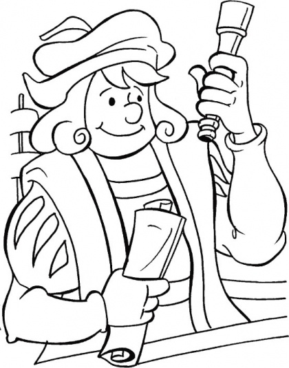 Columbus with all his new findings coloring page | Download Free Columbus with all his new findings coloring page for kids | Best Coloring Pages