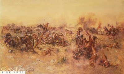 Ambush at Sannas Post by Terence Cuneo. Four VCs were awarded to Q battery for getting their guns into action against 1,000 Boers concealed behind a ridge, near Blomenfontein in 1900.