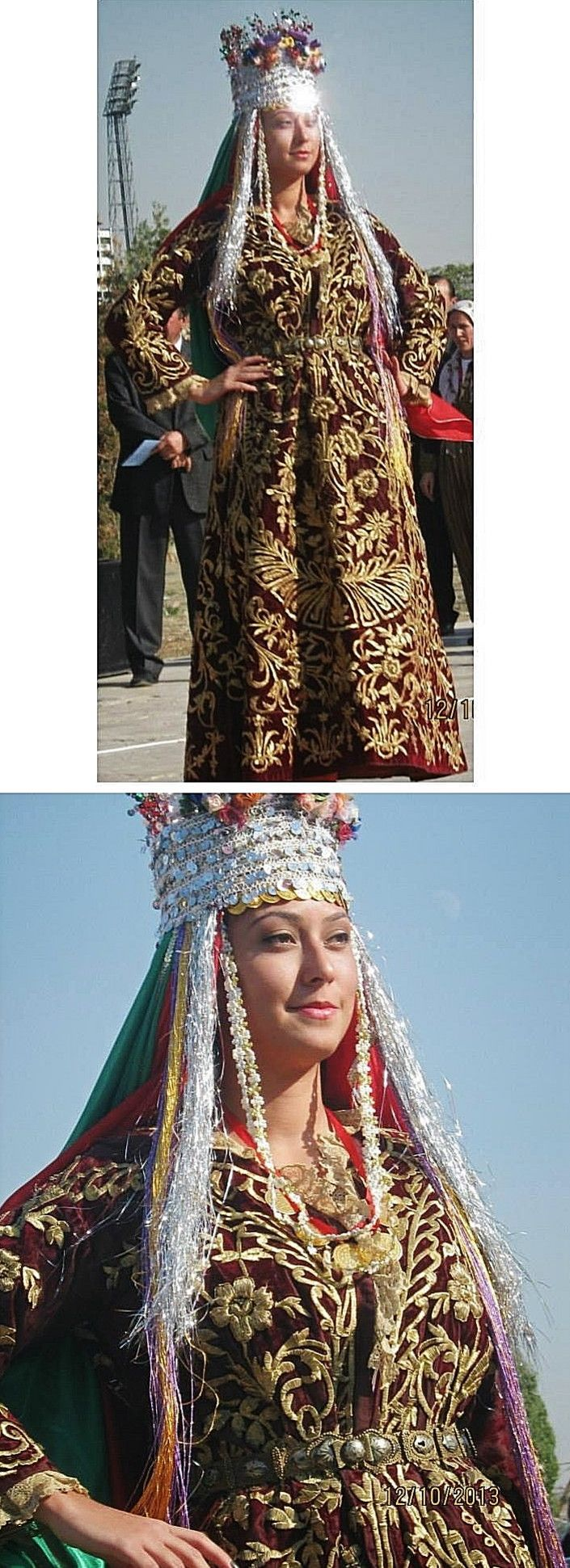 Traditional bridal costume from the Balıkesir province.  Clothing style: ca. 1925-1950.  With a velvet 'bindallı entari' (embroidered robe).