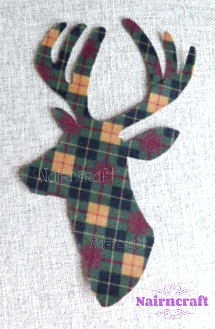 Stag Head - Deer Head - Buck Head - Applique - Patch - Green - Buffalo - Plaid - Flannel - Fabric - Cut Out - Iron On - Sew On - 8-inch  ST2 by Nairncraft on Etsy