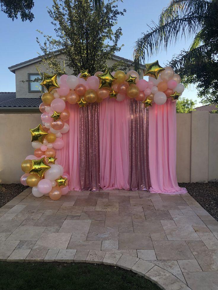 star themed  twinkle twinkle little star  babyshower  quincea u0144era  sweet 16  balloon garland and