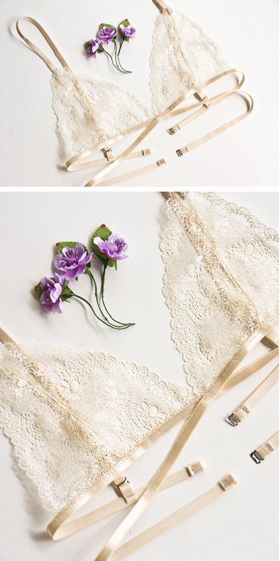 Cordón sujetador encaje bralette sujetador suave ropa interior atractiva cultivo superior triángulo pura festoneado ver a través de lencería íntima encaje luna de miel