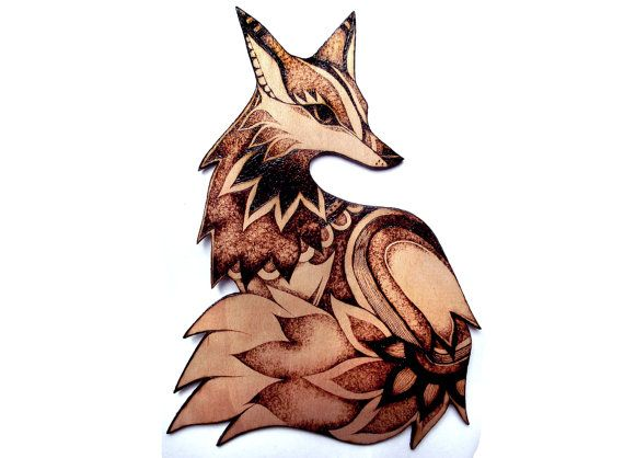 Wood Fox Wall Hanging with Pyrography (Wood burning), Wall art, fox decor, fox art, woodland art, woodland decor, forest animals, uk, foxes