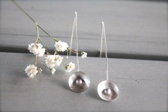 Pearls Sterling Silver 925 Minimal Delicate Earrings Oxidized Gift for Her