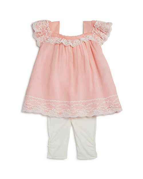 0384cb77c3a Miniclasix - Girls' Lace-Trimmed Bow Top & Capri Leggings Set - Baby ...