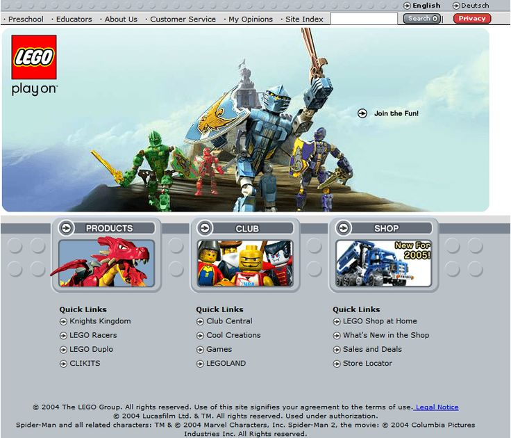 Lego website 2004