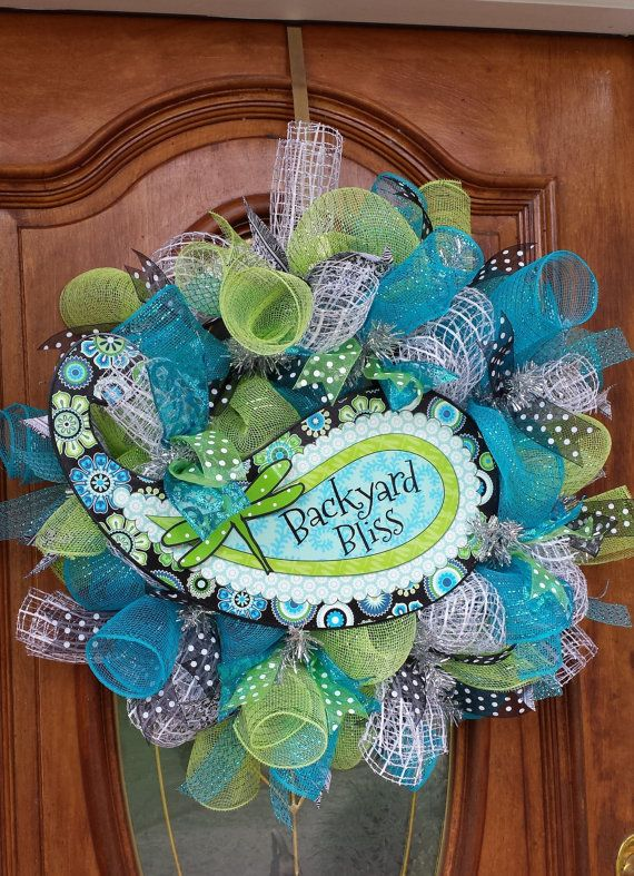 Fun Paisley Turquoise and Green Mesh Wreath by Craftycreations317, $90.00