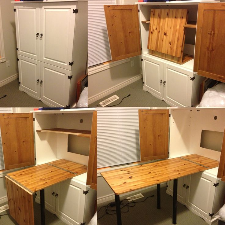 Sewing armoire idea for fold out table - perfect for my crafts and knitting, too!!