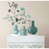 5 in. x 11.5 in. Blossom WaterColor Bird Branch Peel and Stick Wall Decal, Multi