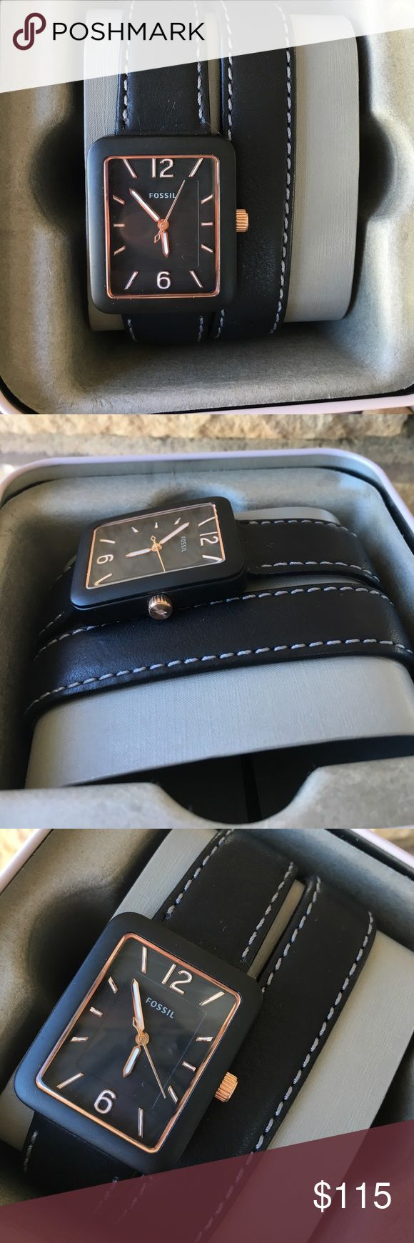 Fossil black leather wrap watch NIBWT ES4193 New in box with tags and warranty booklet! Fossil black leather double wrap black strap with buckle closure. Style #: ES4193. Rectangle face. Rose gold and white markers and accents. Open to reasonable offers; NO TRADES. Fossil Accessories Watches