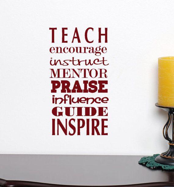 Teaching Words vinyl wall decal decor, gift for teacher, classroom decor, back to school decoration