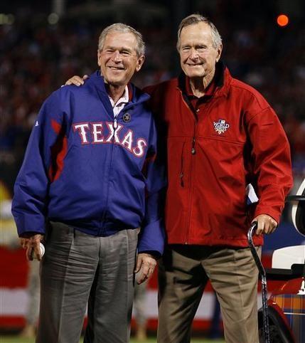 George W. Bush and George HW Bush at the World Series.  Texas Rangers. Arlington Texas. 2011 or 2012