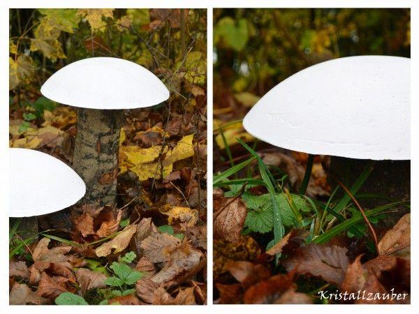 Herbstliche Pilze aus Gips und Holz