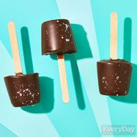 Salted Chocolate Pudding Pops; consider making with pre-made pudding cups - Rachael Ray