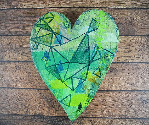 Wall Art- Abstract Geometric Heart.  Hand painted plaster heart to decorate your wall.  I make each heart from a mould that I have made myself,