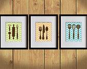 Kitchen Art Print - Chevron, Dining Utensils, Cooking Utensils - Set of 3 - 8X10 - Apple Green, Orange, Sky Blue, Brown- No. KB006-1