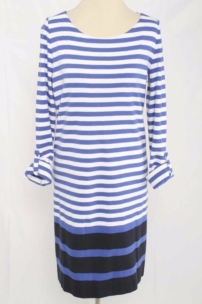 Jones New York Sport Size L Blue Striped Cotton Knit Dress 298 L516  | eBay