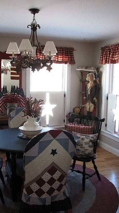 Americana dining room. I could certainly make chair covers for different seasons/holidays!