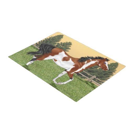 Bay and White Pinto Arabian Horse Doormat