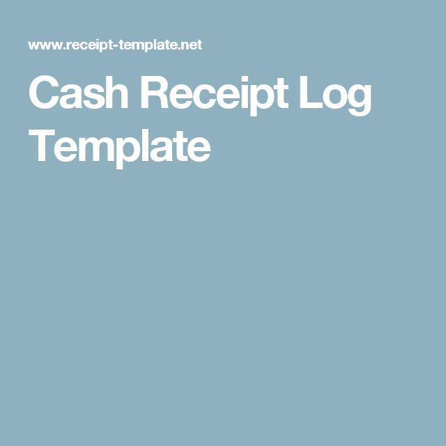 Cash Receipt Log Template