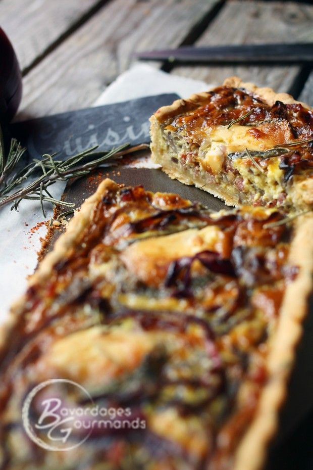 Tarte oignons rouges/chèvre et sa pâte à l'huile