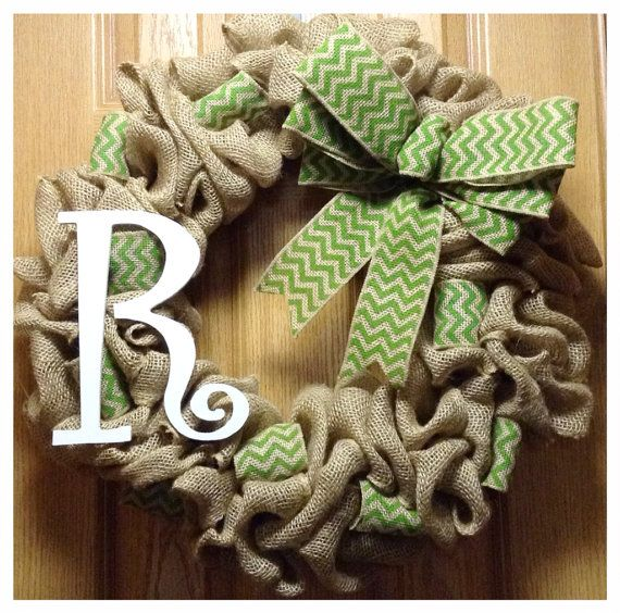 Chevron Burlap Wreath with Monogram- Front Door Wreath- Year Round Wreath- Initial Wreath- St Patricks Wreath- Spring wreath- Wedding gift