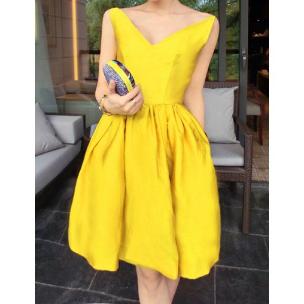 Sexy V-Neck Solid Color Slimming Sleeveless Dress For Women, YELLOW, M in Dresses 2014 | DressLily.com