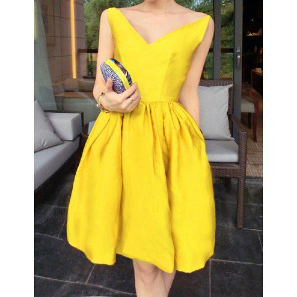 Slimming Sleeveless Dress For Women, YELLOW