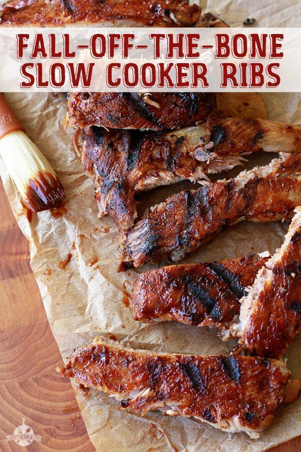 Fall-Off-The-Bone Tender Slow Cooker Ribs recipe from Southern Bite. No need for a grill to enjoy these wonderful ribs.