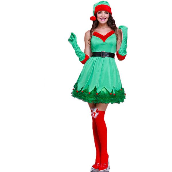 Green Pretty Ladies Elf Christmas Tree Dress Santa Helper Costume ($46) ❤ liked on Polyvore featuring costumes, red, white costume, womens green lantern costume, womens snow white costume, womens halloween costumes and christmas tree costume