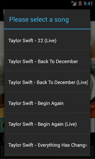 Watch a collection of Taylor Swift's YouTube music videos from your Android! <p>Feel free to recommend videos to add, and don't forget to rate!<p>Song List:<p>22 (Live)<br>All Too Well (Live)<br>Back To December<br>Back To December (Live)<br>Begin Again<br>Better Than Revenge<br>Change<br>Crazier<br>Enchanted<br>Everything Has Changed (ft Sheeran)<br>Eyes Open<br>Fearless<br>Fifteen<br>Girl At Home<br>Haunted <br>Highway Don't Care (ft. Taylor Swift)<br>Holy Ground<br>I Knew You Were…