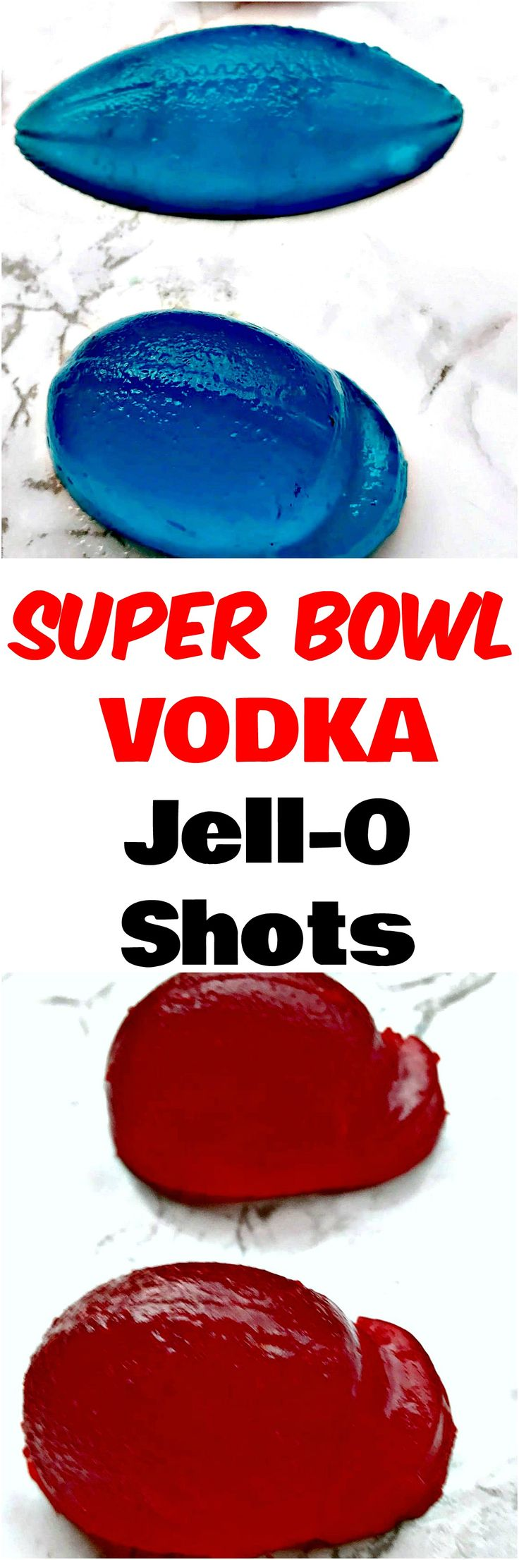 Super Bowl Vodka Jell-O Shots cocktail with no added sugar are fun, football mold jello-shots perfect for game day, tailgates, parties, or any event. #GameDay #SuperBowl #Shots #Cocktails