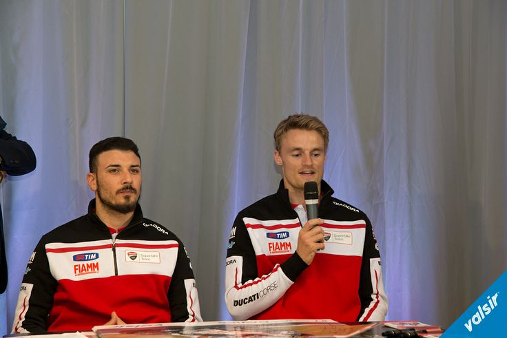 Davide Giugliano and Chaz Davies, Ducati Superbike riders at the Valsir dinner in Milan  Valsir is one of the official Ducati Corse Team Sponsors