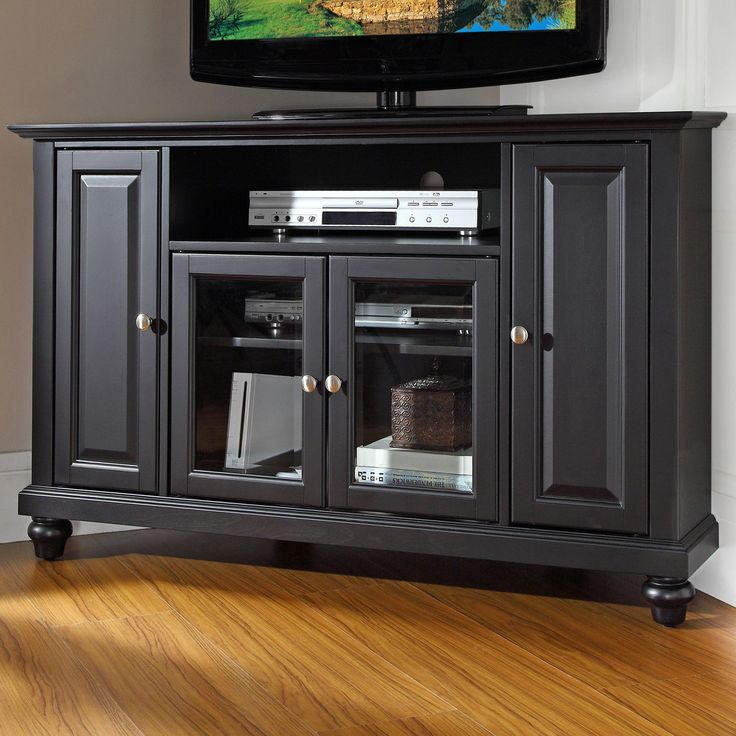 Corner TV Stand   Black   Turned Feet And Classic Good