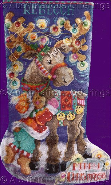 polar bear needlepoint stocking | Rare Gillum Xmas Moose and Teddy Bear Needlepoint Stocking Kit
