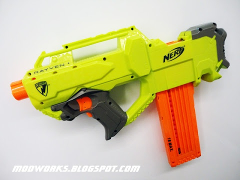 Modifying a Nerf Rayven - voltage increase, stefan compatibility, access  hatch removal