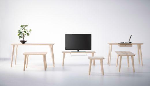LISABO ash veneer living room furniture including TV bench, table and desk.
