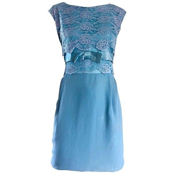 Preowned Beautiful 1960s Light Blue Silk Crepe Lace Bow Vintage 60s... (2,180 PEN) ❤ liked on Polyvore featuring dresses, blue, cocktail dresses, blue dress, short blue dress, vintage cocktail dresses, short lace dress and short evening dresses