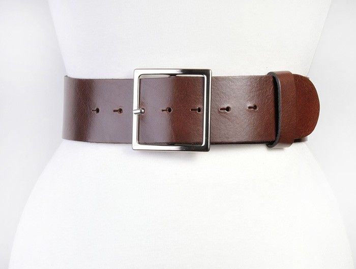 Brown leather belt, wide waist or hips, square buckle in silver or gold from onceuponabelt.com