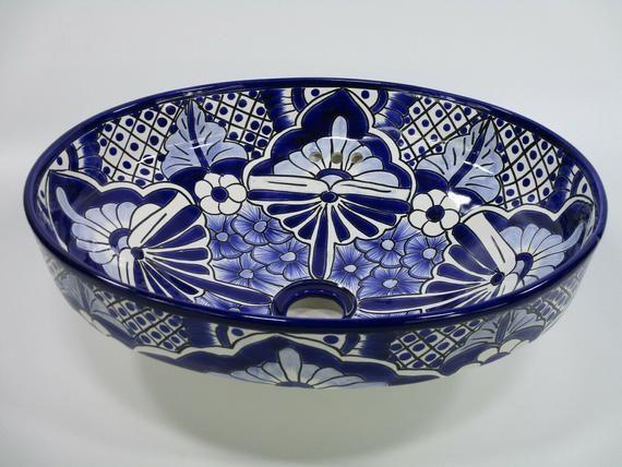 mexican handmade hand painted ceramic semi-recessed 17 TALAVERA SINK drop in