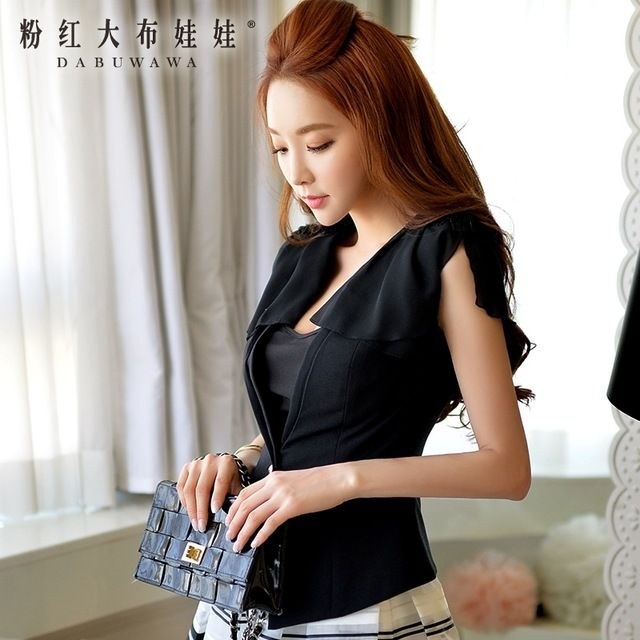 dabuwawa blazer female 2016 summer fashion casual slim sleeveless office vest jacket black women US $64.75 Specifics Gender	Women Item Type	Blazers Decoration	Embroidery Clothing Length	Regular Pattern Type	Solid Closure Type	Double Breasted Hooded	Yes Material	Polyester Collar	Notched Sleeve Length	Short Brand Name	None Material composition	100% polyester A particular clothing version of type	Straight The article number	D16BJK003 Sleeve type	Conventional  Click to Buy :http:/