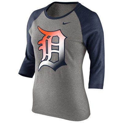 Nike Detroit Tigers Ladies Gradient Raglan Three-Quarter Length T-Shirt