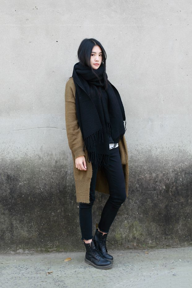 skinnies and docs, huge sweater and scarf. all about proportion
