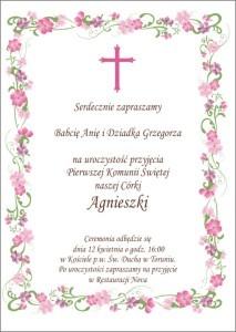Zaproszenie na Chrzest / Pierwszą Komunię Romantic