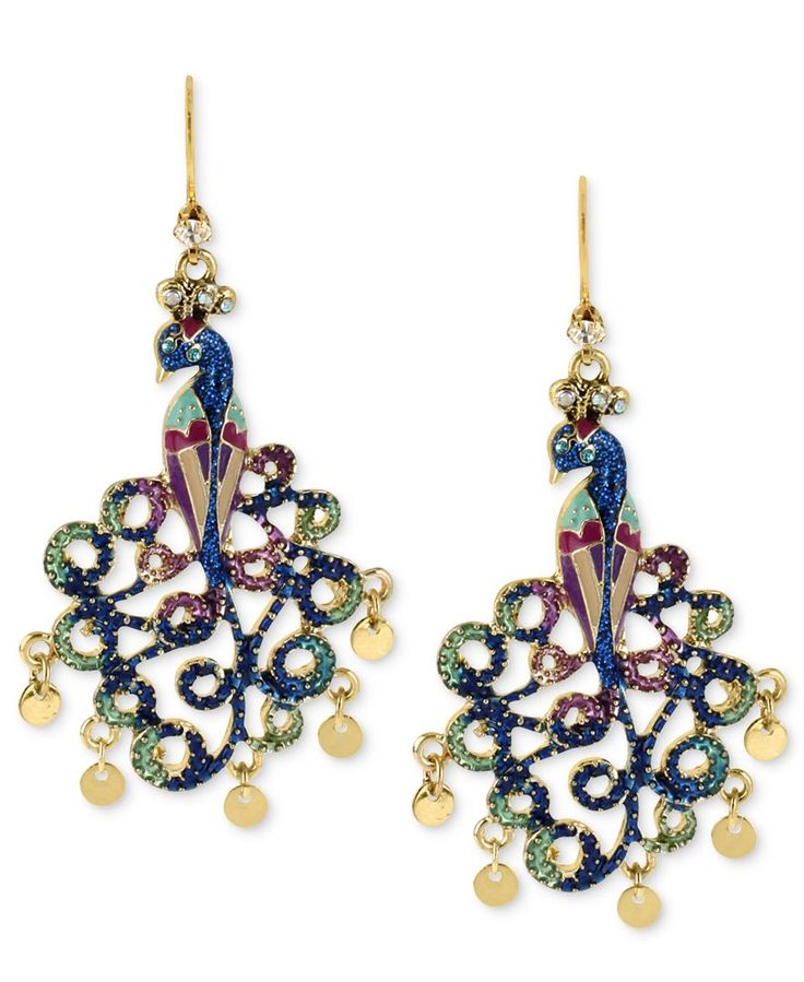 Betsey Johnson Earrings, Gold-Tone Peacock Drop Earrings - Fashion Jewelry - Jewelry & Watches - Macy's